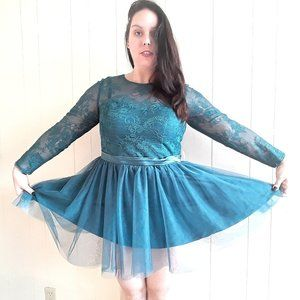 JJ's house peacock tulle lace mini ball gown dress